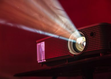 Slide projector with a red background
