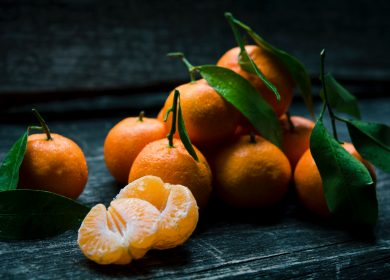 Pile of tangerines on a table
