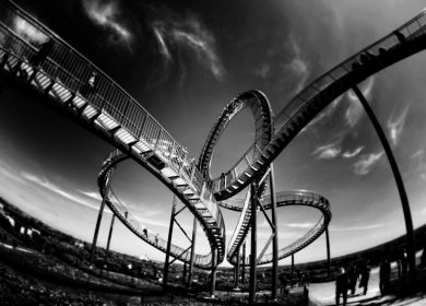 Roller Coaster in black and white