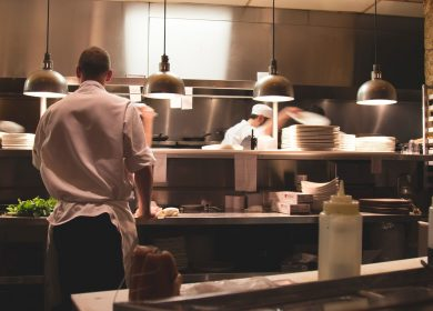 Restuarant Kitchen with waiter and cook