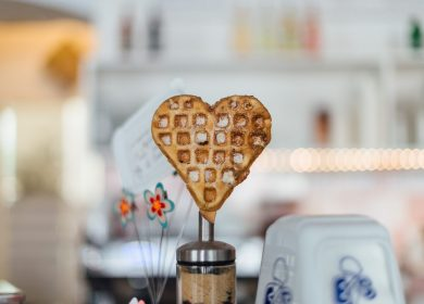Heart-shaped waffle on a container