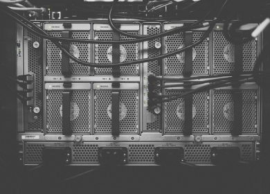 Server boxes in black and white